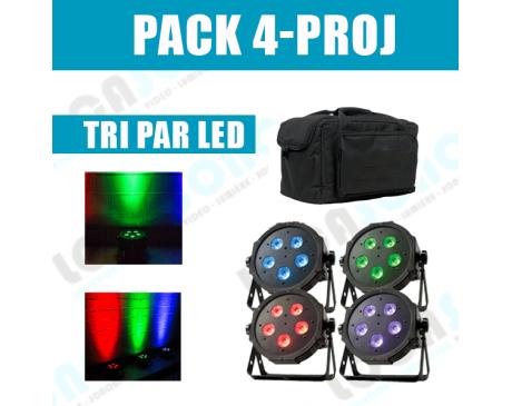 PACK 4 projecteurs LED  Déco SLIM PAR
