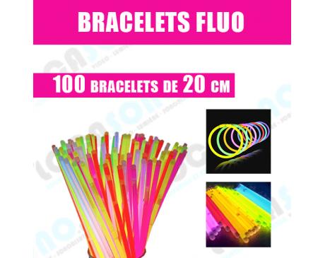 Vente 100 Bracelets  FLUO Multicolores de 20 cm