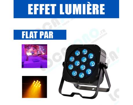 PAR LED - Projecteur compact 12 LEDs 12W RGBWA + UV avec télécommande