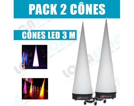 Pack  2 Cônes lumineux extérieur LED  - 3 Mètres
