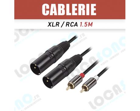 Vente câbles double XLR male vers double RCA 1.5m