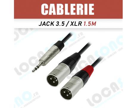 Vente câble Jack Stereo 3,5 / 2x XLR male 1,5m