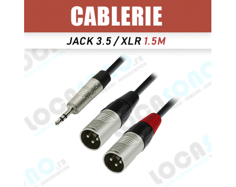 Câble Jack Stereo 3,5 / 2x XLR male 1,5m