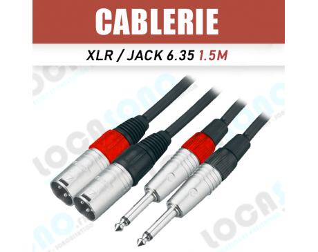 Câble jack 6.35 mâle vers double xlr male 3m
